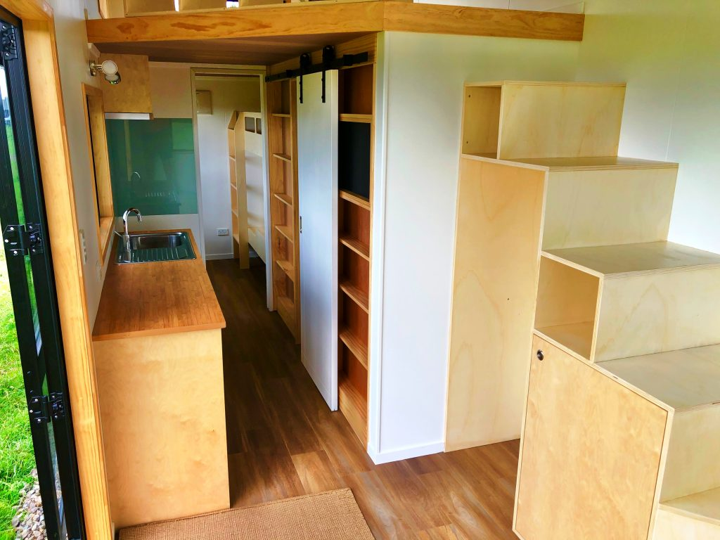 Tiny House Kitchen and Storage Stairs
