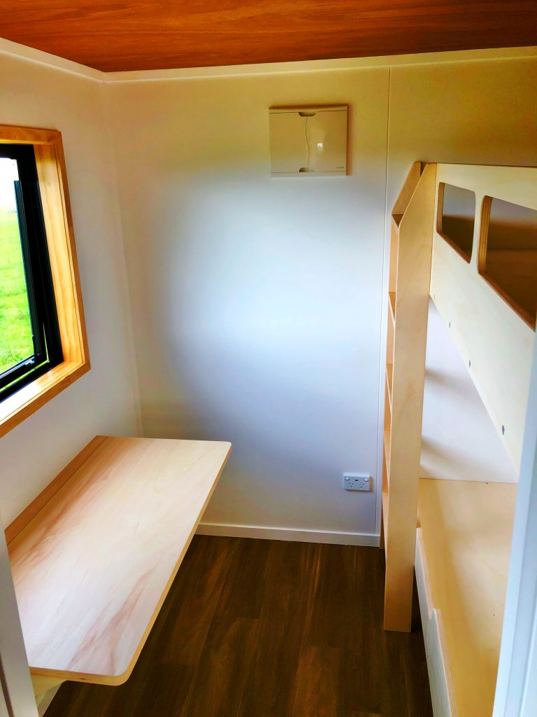 Tiny Home Bedroom, Built in Bunk Beds