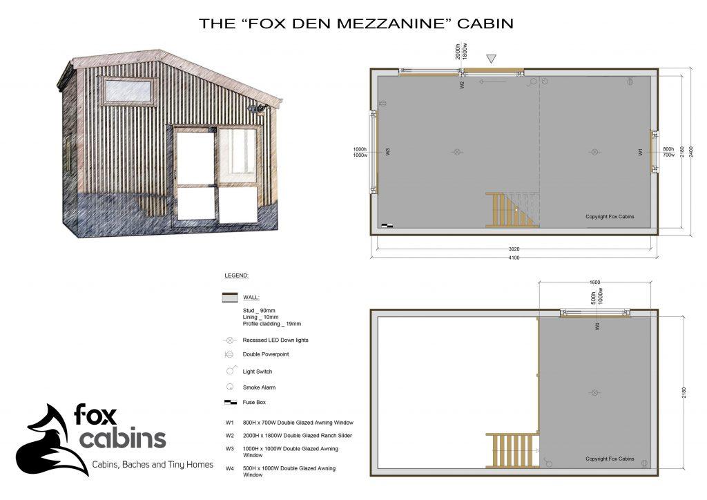 Fox Den Mezzanine Cabin Plan